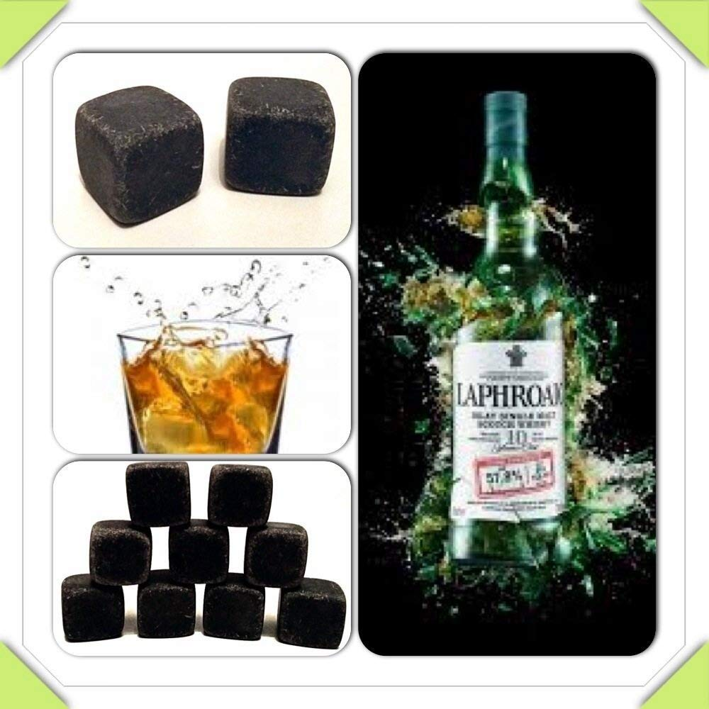 9 Whisky Stones / Whisky Rocks In A Pouch- Choose From Basalt, Soap Stone or White (Dark Grey (Basalt))
