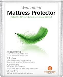 "HOSPITOLOGY PRODUCTS Mattress Protector Natural Cotton Terry Sleep Surface - Full/Double - Waterproof - Hypoallergenic - 20-Year Warranty - Fitted Mattress Cover - Machine Washable - 54"" W x 75"" L"