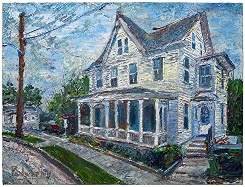 (UNTITLED m971 - original oil painting house home)