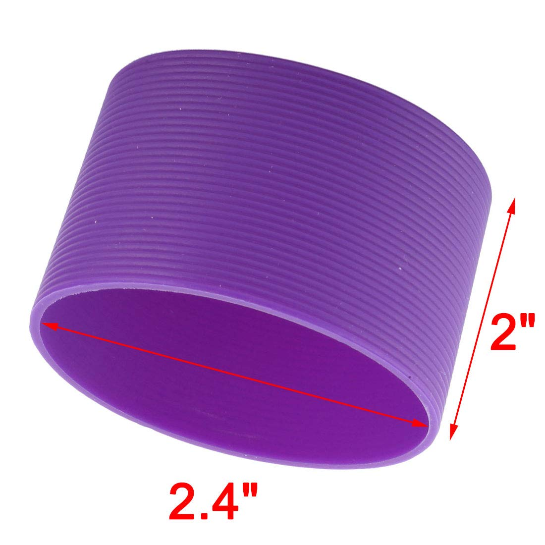 uxcell/® Silicone Round Heat Insulated Water Cup Sleeve Protector Cover 6.5cm Dia Purple