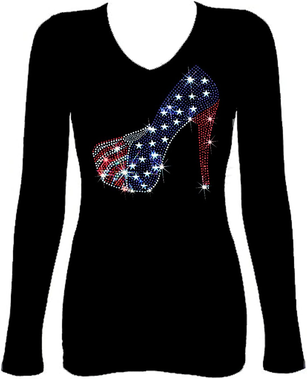 Bling Bling 4th of July Girls 10~12 Rhinestones T-Shirt with Ripped Cut Out LOVE