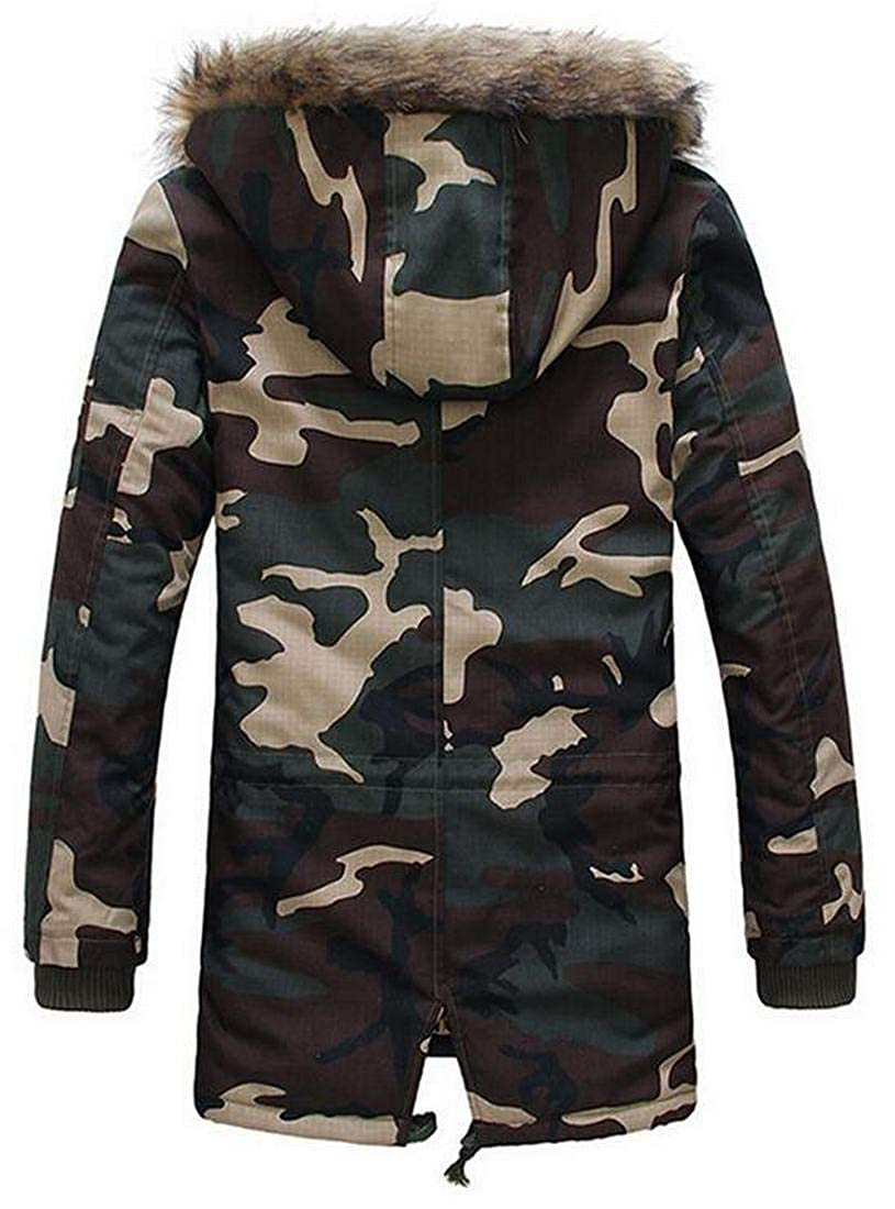 ARTFFEL Mens Camouflage Parkas Warm Winter Faux Fur Hooded Quilted Jacket Coat Outerwear