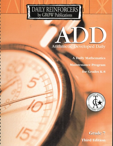 Download ADD Grade 7 Teacher's Edition (Arithmetic Developed Daily, 3rd) pdf