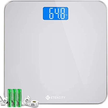 Etekcity Scales Digital Weighing Bathroom Scales Body Weight Scale With Round Corner Design Body Measuring Tape Backlight Display 28st 180kg 400lb Amazon Co Uk Health Personal Care