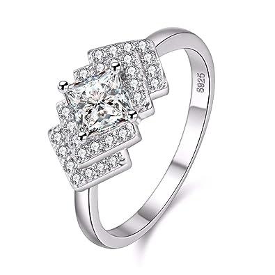Buy Uloveido Platinum Plated Princess Cut Cubic Zirconia Ring