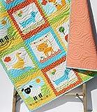Animal Baby Quilt, Patchwork, Baby Blanket Unisex Boy or Girl Quilt, Dachshund Dog Cat Panda Sheep Fox, Orange Yellow, Toddler Bed Blanket
