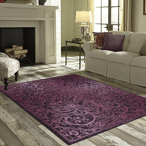 Maples Rugs Pelham 7 x 10 Large Area Rugs [Made in USA] for Living, Bedroom, and Dining Room, Wineberry Red