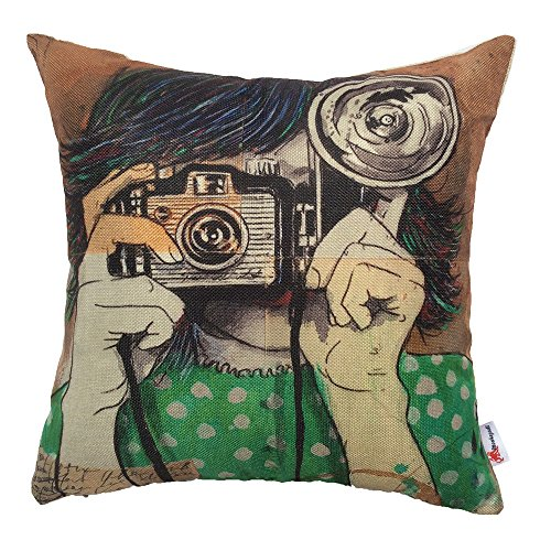 Monkeysell Newspaper Literary Women Face Cotton Linen Square Throw Pillow Case Decorative Cushion Cover Pillowcase Cushion Case for Sofa,Bed,Chair 18 X 18 Inch (S045B1)