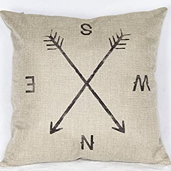 "Retro Compass Cotton Linen Throw Pillow Cases Decorative Cushion Covers , 18"" x 18"""