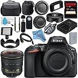Nikon D5600 DSLR Camera (Body Only) (Black) 1575 AF-S Fisheye NIKKOR 8-15mm f/3.5-4.5E ED Lens + 256GB SDXC Card + Card Reader + Professional 160 LED Video Light Studio Series Bundle