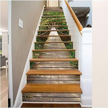 Bosque del puente colgante, papel tapiz, pegatina para escalera extraíble impermeable, 18x100CM / 7.1x39.4
