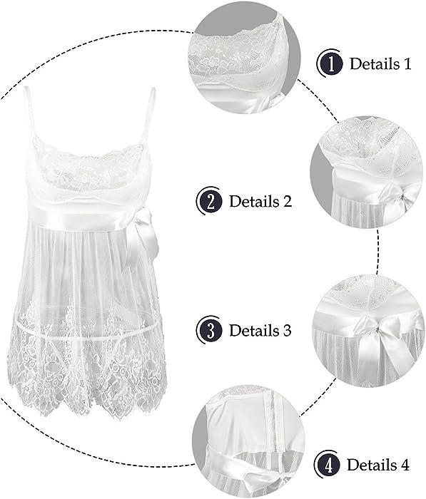 31632e530 ... EVAbaby Sexy Lingerie for Women White Lace Chemise Dress Bridal  Sleepwear Set Sheer Babydoll ...