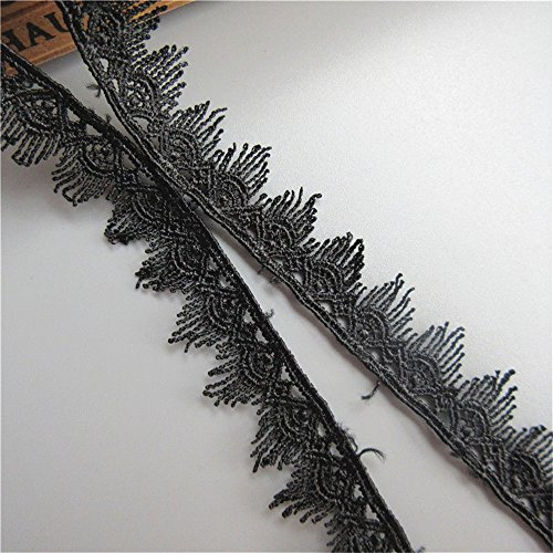 (5 Meters Scalloped Tassel Fringe Band Lace Trim Ribbon 2 cm Width Vintage Style Black Edging Trimmings Fabric Embroidered Applique Sewing Craft Wedding Bridal Dress DIY Party Clothes Embroidery)