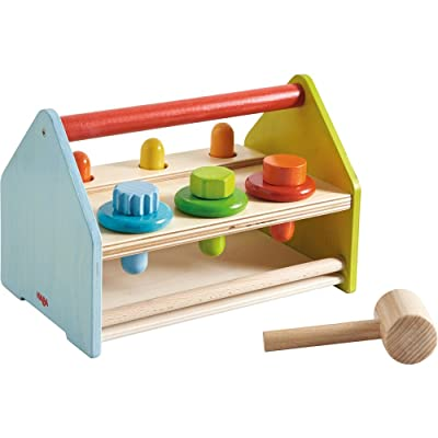 HABA Wooden Tool Box with 11 Accessory Pieces Including Hammer, Screws, Pegs & Washers - Doubles as a Pounding Bench - Ages 18 Months +: Toys & Games