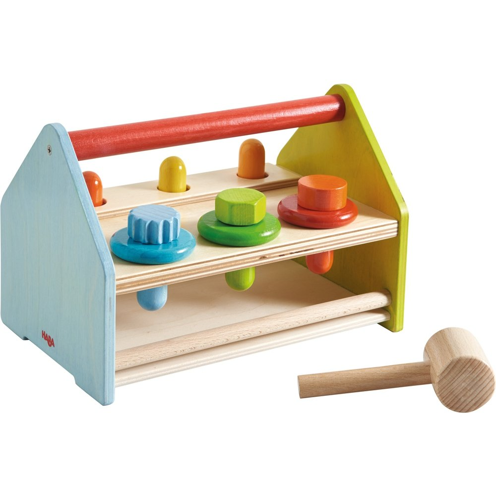 HABA Wooden Tool Box with 11 Accessory Pieces Including Hammer, Screws, Pegs & Washers - Doubles as a Pounding Bench - Ages 18 Months +