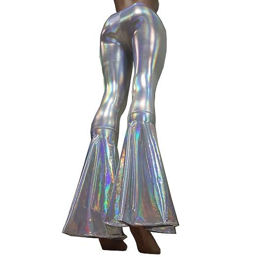 d275a73a Pinda Sexy Summer Women High Waist Bell Bottom Pants Leggings - Silver -:  Amazon.co.uk: Clothing