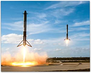 SpaceX Falcon Heavy Boosters Landing - 11x14 Unframed Print - Great Gift Under $10 For Space Fans, Astronomers, and Astronauts