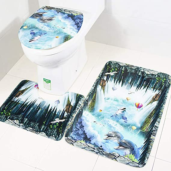 Amazon.com: DZX Bathroom Floor Mat Set Toilet Seat Three-Piece Non-Slip Mat Flower Carpet Ocean Decoration,Blue: Home & Kitchen
