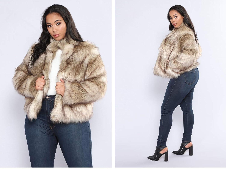 Amazon.com: Abrigo de pelo largo con capucha de piel ...