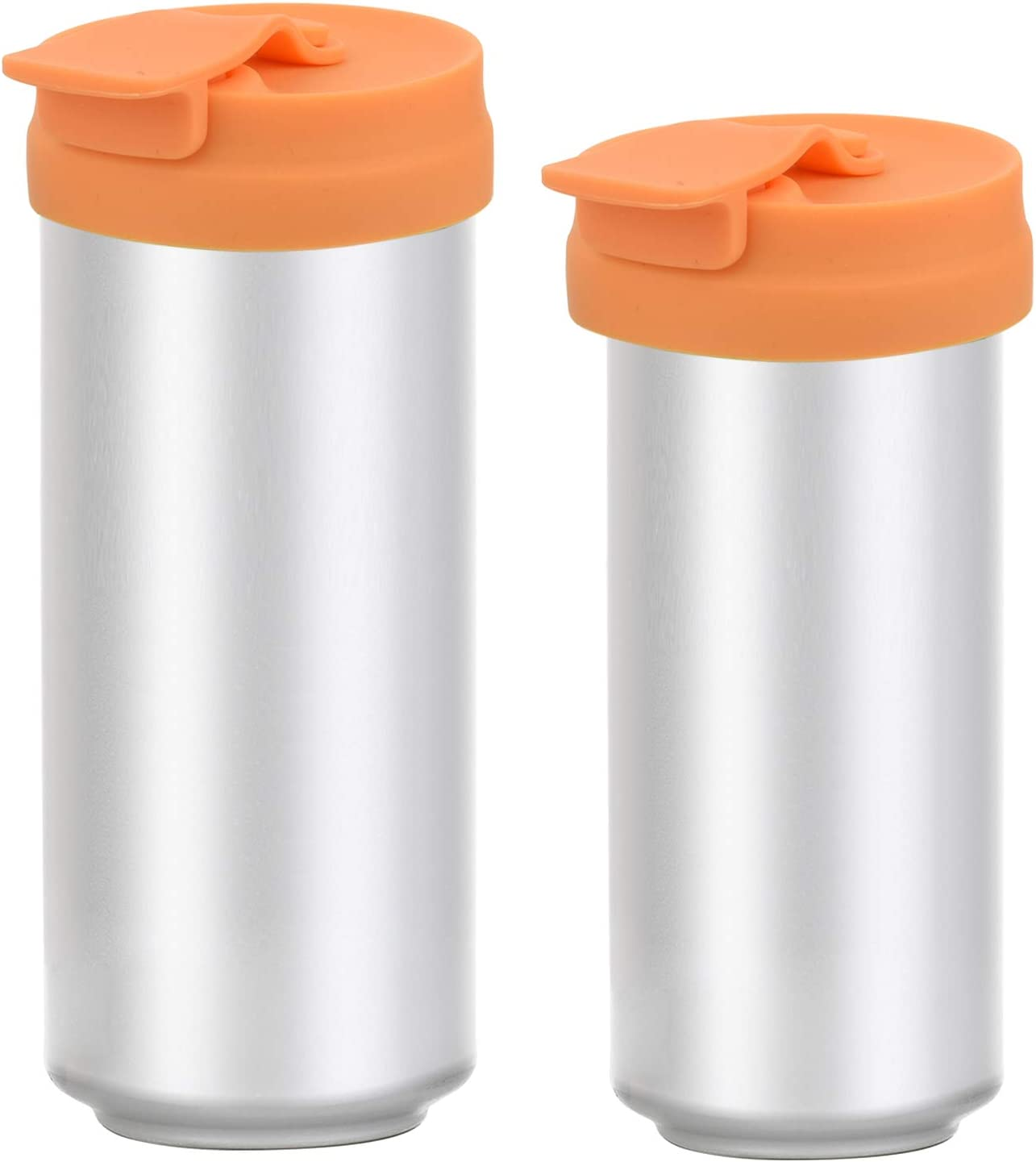 Silicone Slim Can Lids Beverage Can Cover Protector for Slim Can, Tall Skinny Can Beer Bottle, Soda, Energy Drink (2 orange)