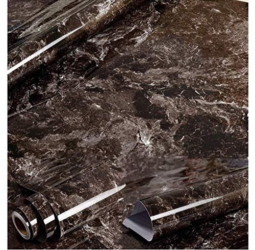 Amao Black Brown Granite Look Marble Effect Wallpaper Film Vinyl Self Adhesive Peel-Stick Counter Top 15.7''x79''