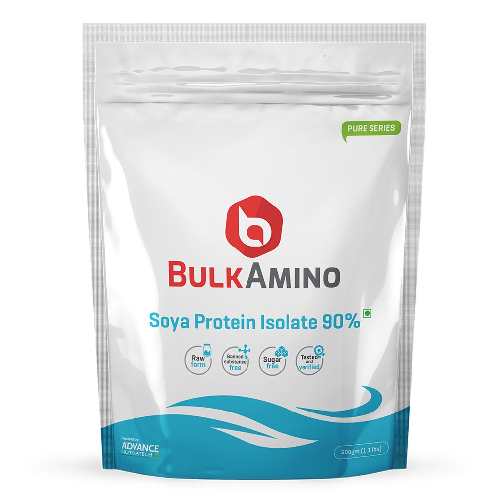 Advance Nutratech Bulkamino SOYA Protein Isolate 90% Powder - 1 Lbs (Unflavored)