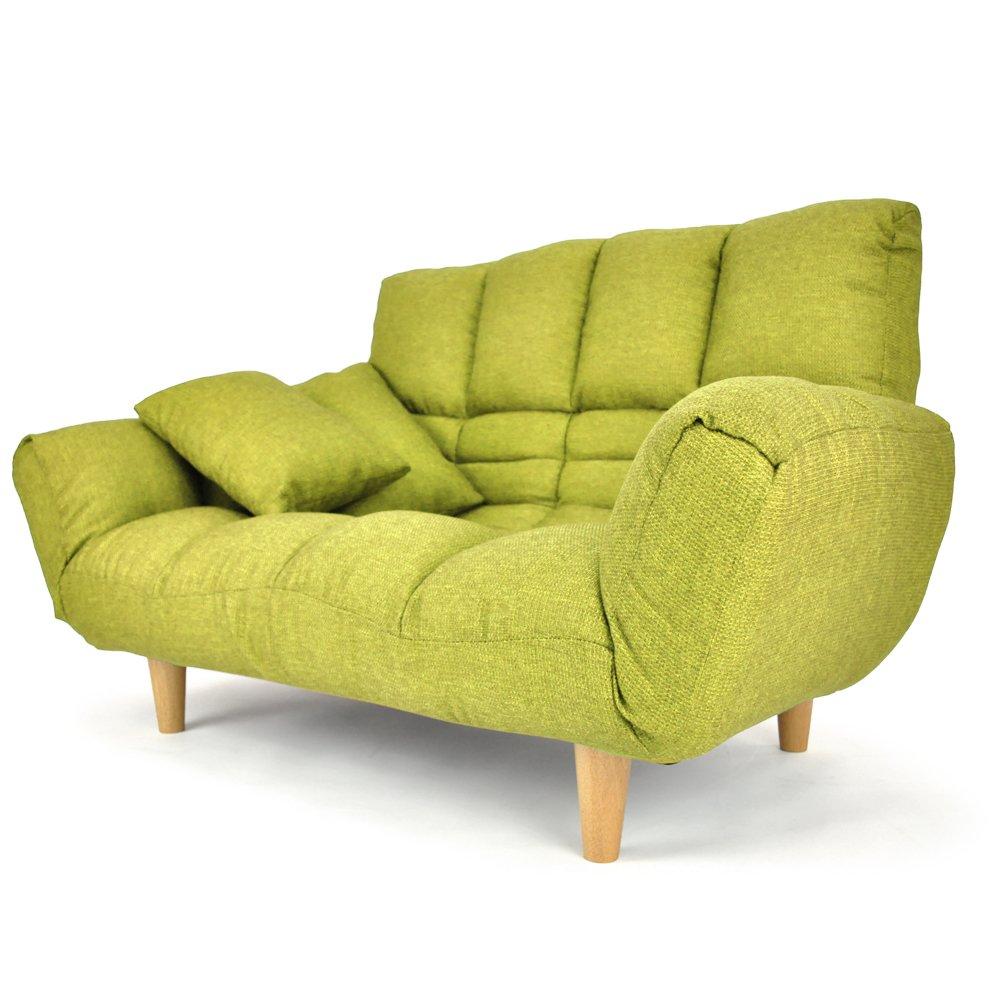 リクライニングカウチソファ 「オルフェ」 ハイバック (クッション付肘掛け14段階リクライニング) ファブリックタイプ グリーン色 B0118YGWLC グリーン色