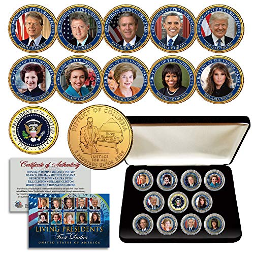 - LIVING PRESIDENTS and FIRST LADIES D.C. Quarters 24K Gold Plated 11-Coin Set BOX