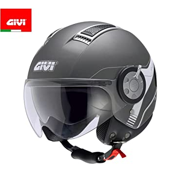 GIVI H111BG76854 Hps 11.1 Air Deni Jet Casco, Color Titan Mate, Talla 54/
