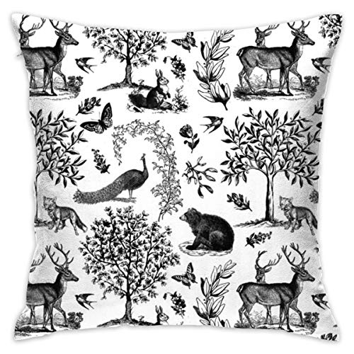 Blived Throw Pillow Case Woodland Toile in Grey On White_988 Cushion Covers for Chair, 18x18 inches, 45x45 cm (Black Bedding Cream Toile)