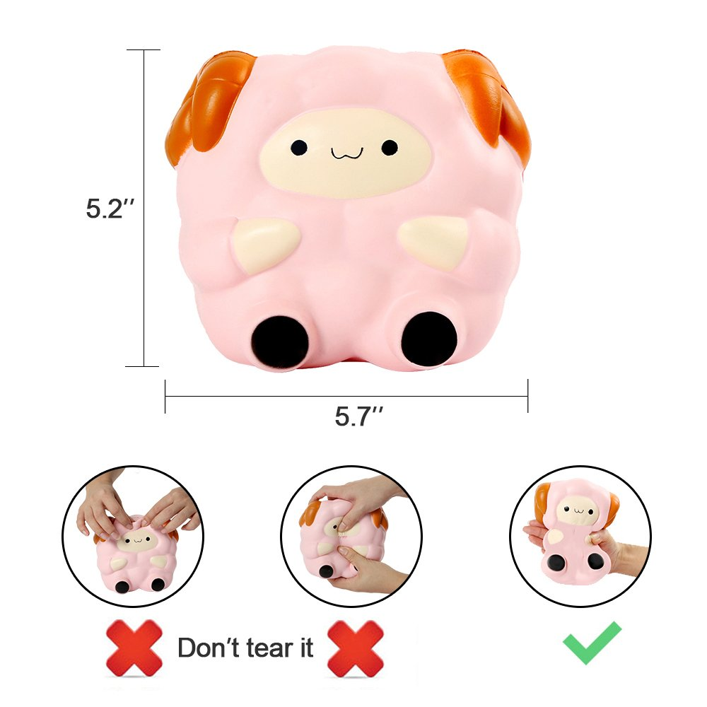 YBLNTEK 5.7'' Slow Rising Squishy Jumbo Squeezing Cute Sheep Toy Home Decoration Emotion Release Hand Exercise Fruit Scented