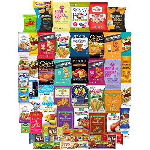 Healthy Snacks Care Package, Many Different Treats To Sample, Chips, Popcorn, Nuts and Gummy Items (50 Count) by Snacks Generation
