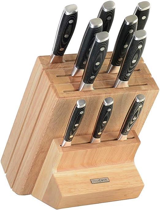 Messer Block bestückt Holz Messerblock Set Edelstahl Messerset 7-teilig Grau