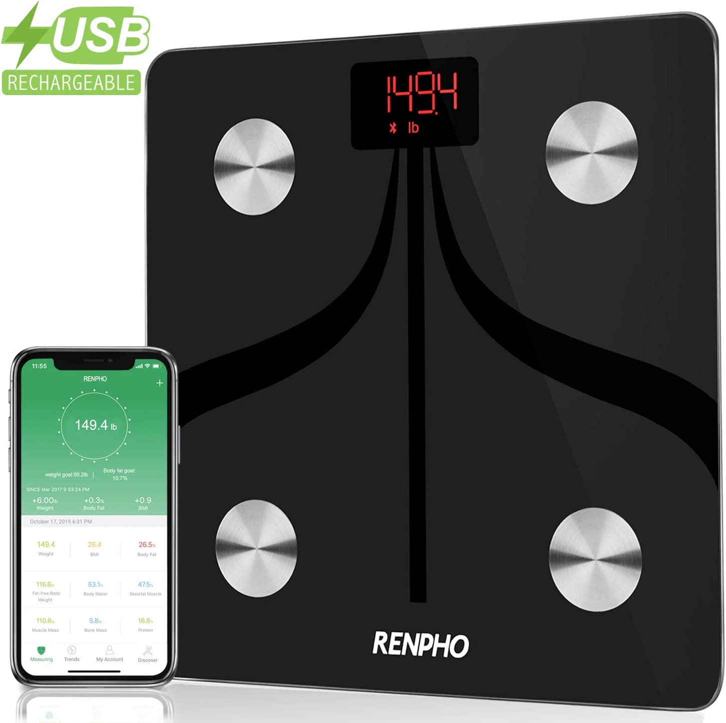 RENPHO USB Chargeable Bluetooth Body Fat Scale Smart Digital Bathroom Scale with Smartphone App, Body Composition Monitor for Body Fat, BMI, Bone Mass, Weight, 396 lbs Black