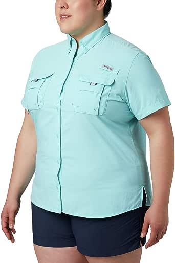 Columbia Sportswear Women's Plus-Size Bahama Short Sleeve Shirt, Clear Blue, 2X