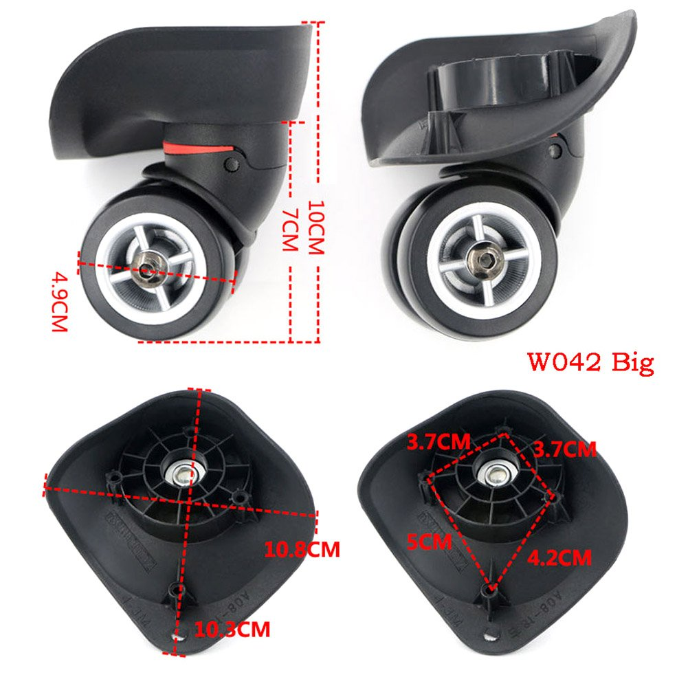 Timmart Luggage Suitcase Replacement Wheels PVC Left Right Swivel Coaster Wheels - Set of 2 by Timmart (Image #2)