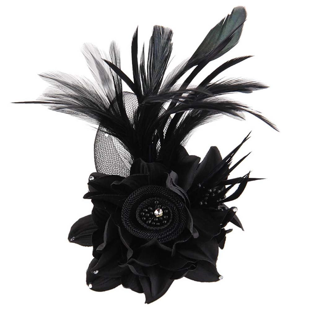 Charming Black Cantina Fiesta Feather Flower Fascinator Hat - DeluxeAdultCostumes.com
