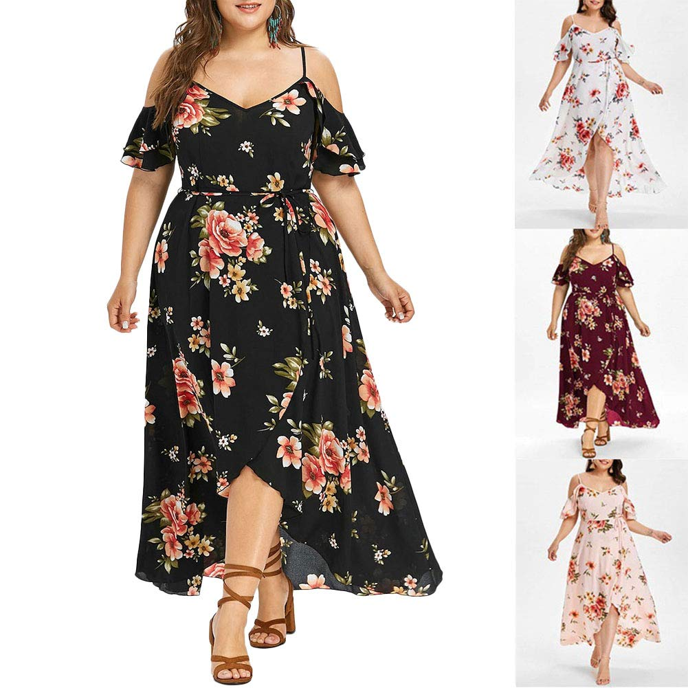 dd5fdb410c5f Holiday Traveling Style Plus Size Women Beach Dating Slim Casual Short  Sleeve Cold Shoulder Boho Flower Print Long Shift Dress Skirt: Amazon.in:  Clothing & ...