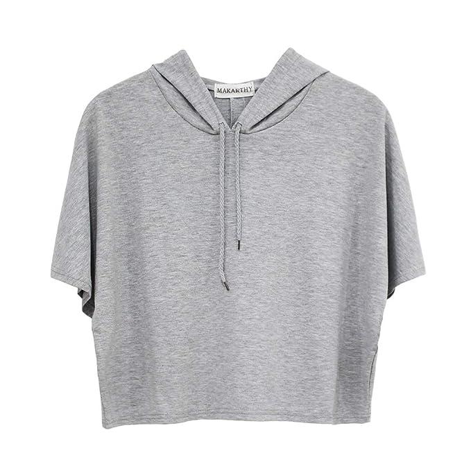 03faa2549ad MAKARTHY Womens Short Sleeve Hoodie Lightweight Crop Top Pullover  Sweatshirt at Amazon Women's Clothing store: