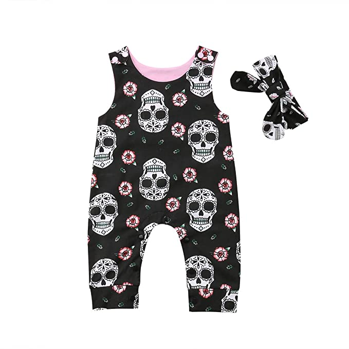 b8a67a5305e Newborn Infant Baby Girl Boy Halloween Clothes Skull Floral Romper Jumpsuit  Sleeveless Bodysuit Headband Outfit