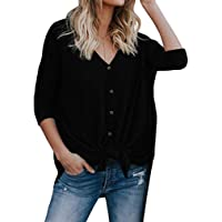 Halife Womens Loose Long Sleeve V Neck Button Down Henley Shirts Tie Front Knit Tunic Blouse Top