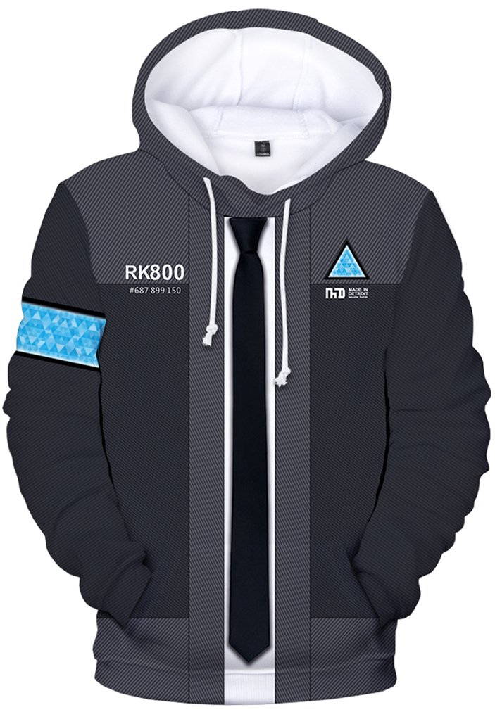Pandolah Unisex Detroit Become Human Hoodie 3D Print Cool Games Sweatshirt (XL, RK800Grey)