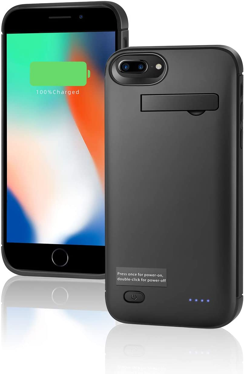 Battery Case for iPhone 6/6s/7/8/SE(2021),JINXUAN 5200mAh Portable Charger Case, Rechargeable Extended Battery Charging Case for iPhone 6/6s/7/8/SE(2020)(4.7inch)-Black