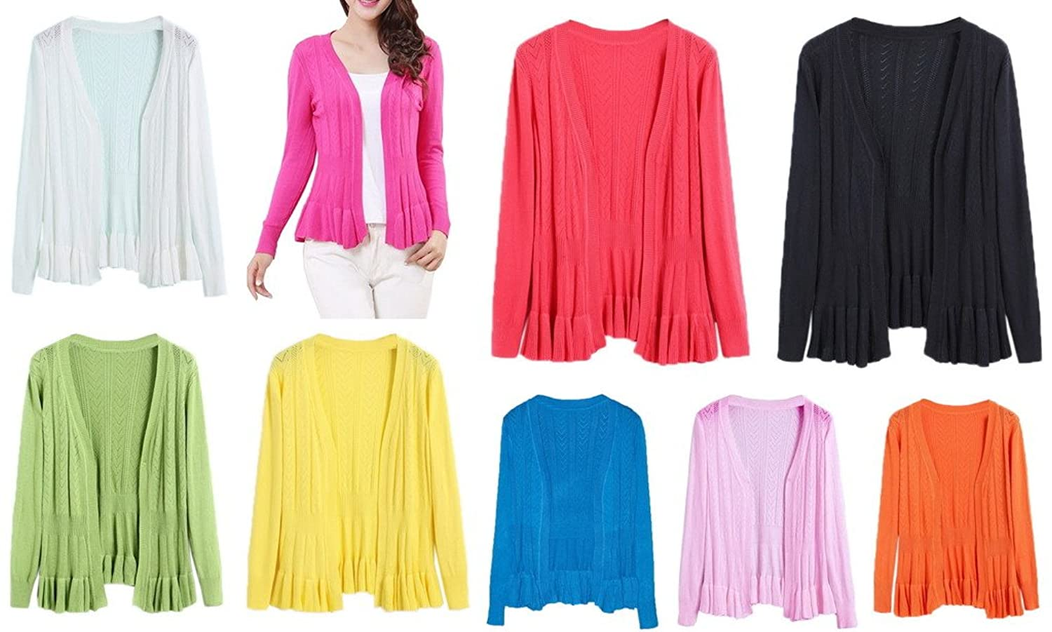 Smile YKK Womens Hollow Knitting Sweater Cardigan Air-conditioned Shirt