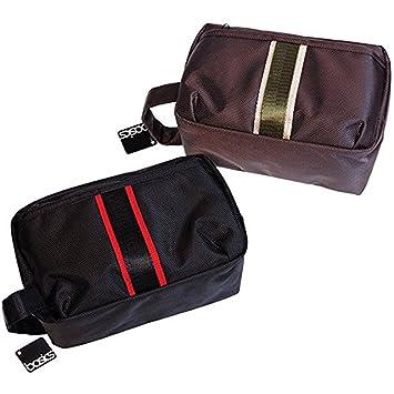 02c0deda90 Amazon.com   Basics Toiletry Shaving Bag Set (One Brown and one black)    Beauty
