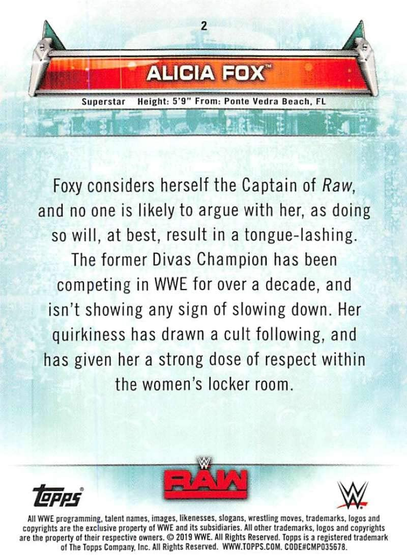 2019 Topps WWE Womens Division #2 Alicia Fox Wrestling Trading Card