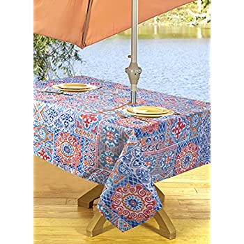 High Quality Outdoor Tablecloths, Umbrella Hole With Zipper Patio Tablecloth,  Stain Resistant, Spill Proof, Shrink Resistant, Iron Free, ...