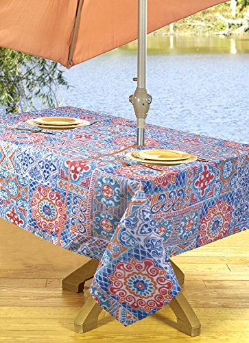 High Quality Outdoor Tablecloths, Umbrella Hole With Zipper Patio Tablecloth, Stain Resistant, Spill Proof, Shrink Resistant, Iron-Free, Beauty and Performance (54'' x 72'', Geo Coral) (Performance Patios)