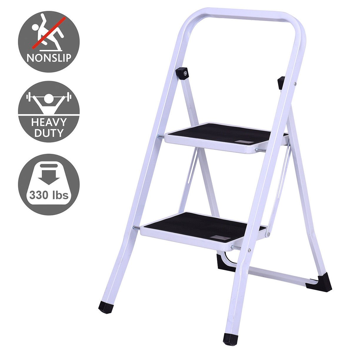 Giantex 2 Step Ladder Folding Steel Step Stool Steel Stepladders with Anti-Slip Heavy Duty with 330Lbs Capacity