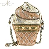 Mary Frances ''The Scoop'' Beaded Ice Cream Cone Summer Shoulder Bag, Pink/Cream